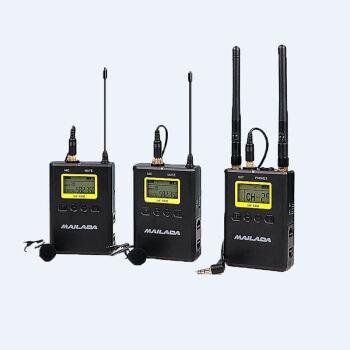 ミラダWM 9 Sは無線マイクの小型ハチのマイク街で携帯一眼レフカメラを撮影しています。
